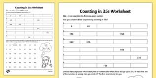 Counting By 25s Chart Counting In 25s Counting Ks2 Counting Primary Resources