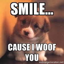 Smile... Cause I Woof You - cute puppy | Meme Generator via Relatably.com