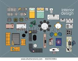 home floor plans color. vector interior design floor plan. home house top view. collection set elements. in plans color