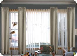 beautiful hanging curtains over blinds decor with interior white vertical blinds mixed with grommet loose curtain