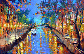 romantic evening art gallery oil palette knife painting on canvas by dmitry spiros 28