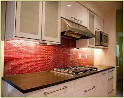 Red glass mosaic tile backsplash