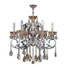 kronos 6 light chrome and amber crystal large chandelier