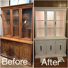 before after of an old hutch painted with white chalk paint thank you hubby