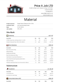 How To Price A Construction Job Materials List Order List Materials Spreadsheet Construction