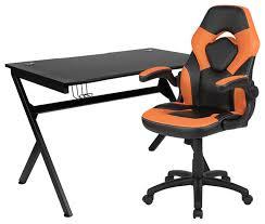 orange black racing chair set