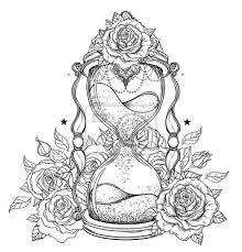 Fototapeta Dekorativní Starožitné Přesýpací Hodiny S Růží Ilustrace Izolovaných
