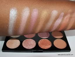 make up revolution golden sugar palette swatches on dark skin