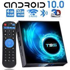 Android 10 TV Box, EASYTONE T95 Android TV Box with 4GB RAM 32GB ROM H616  Quad-core Chips, Support 2.4G/5G Dual-Band