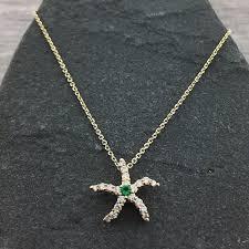 emerald diamond starfish pendant