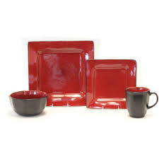 red black square dinnerware sets. get quotations · fabulous square 16-piece dinnerware set reactive red black sets t