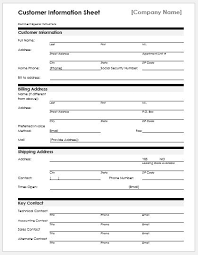 Customer Information Template New Customer Information Sheets For Ms Word Word Excel