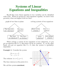 systems of linear equations and inequalities recall that every