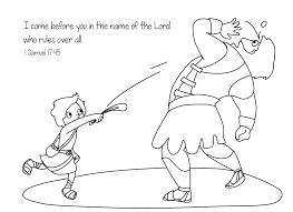 Small Picture Free Bible Coloring Page David and Goliath