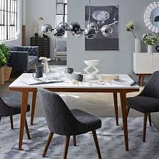 modern dining table 50 white lacquer pecan at west elm dining tables dining room furniture