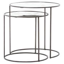 danner industrial loft nesting antique mirror glass round side tables set of 2 kathy