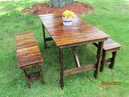 round wooden picnic table with attached benches round designs