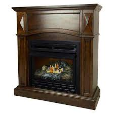 compact convertible ventless propane gas fireplace in cherry