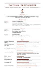 Technical Support (Intern) Resume samples. Work Experience