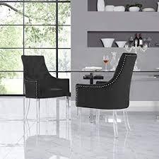 velvet acrylic leg dining chair set of 2 black