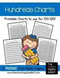 Free Hundreds Chart Printables 100 And 120 A Hughes Design