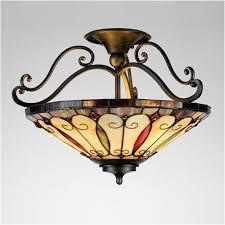style lighting. Felice Tiffany Style Glass Semi Flush Ceiling Light Lighting