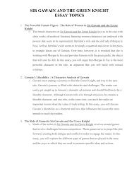 Analytical Essay Topics Sir Gawain And The Green Knight Essay Topics