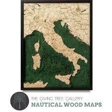 Wood Bathymetric Charts Italy Wood Carving Artwork Carving