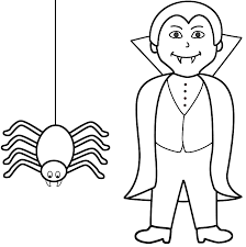 Small Picture Vampire with spider Coloring Page Halloween