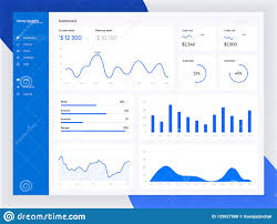 Informational Text With Graphs And Charts Infographic Dashboard Template With Flat Design Graphs And