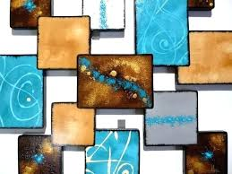 blue metal wall art ocean aluminum modern abstract sculpture turquoise tropical luxury reef abstra
