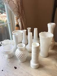 milk glass collection set of 12 vases pedestal vase candle holder