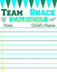 Team Snack Schedule Template Snack Schedule Template For Sports Bernardy Co