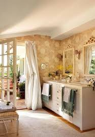 decorating with vintage furniture. modern bathroom decorating ideas floral wallpaper pattern beige creamy white and pastel colors with vintage furniture