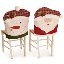 Christmas Chair Back Cover Santa Claus Snowman Pattern Non Woven