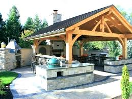 Rustic Outdoor Cooking Area Kitchen Plan Covered Designs