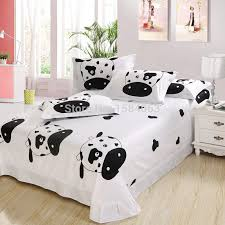 bedroom 100 cotton kids cartoon black and white bedding set with cow for comforter plans