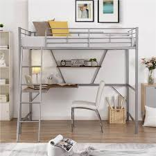 twin size metal loft bed frame with l