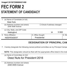 Epidemic Nuts Fake-candidate Deez Sparks