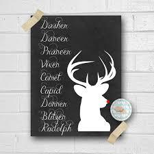 Santas Reindeer List Art Print Rudolph By Orangewillowdesigns