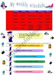 My Weekly Schedule My Weekly Schedule Esl Worksheet By Nilce