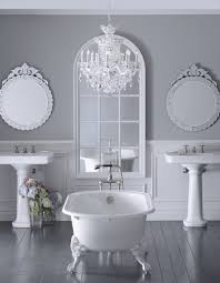 glamorous bathroom with a glass crystal chandelier