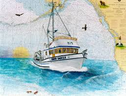 Paintings On Nautical Charts Raven Dancer Crab Fishing Boat Cathy Peek Nautical Chart Art