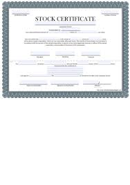 Template For Stock Certificate Free Certificate Of Stock Template Corporate Stock
