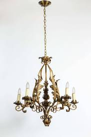 1940s aged gold look with wrought iron decorative leaves and five lights re wired