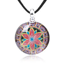 hand blown glass jewelry multi colored mandala flower round pendant necklace 17 19 inches