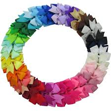 qinghan - qinghan <b>40pcs</b> 3'' grosgrain ribbon <b>pinwheel</b> boutique <b>hair</b> ...