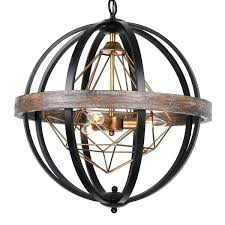 black orb chandelier industrial 3 light black wood orb chandelier