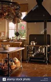 Kitchen Gas Furnace With Hood Table Laid Casserole Suspended Stock