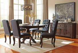 adams 7pcs traditional dining room brown round oval table tufted chairs set